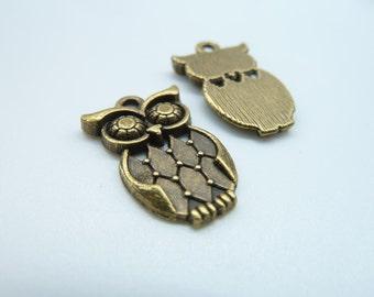 15pcs 13x22mm Antique Bronze Mini Owl Charm Pendant c2483