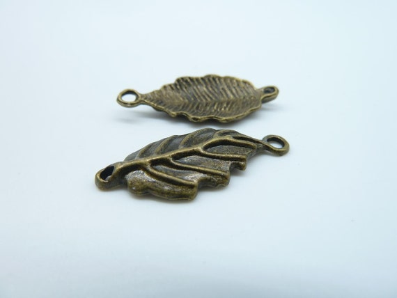20pcs 11x27mm Antique Bronze Leaf Connector Link Charms Pendant c2652