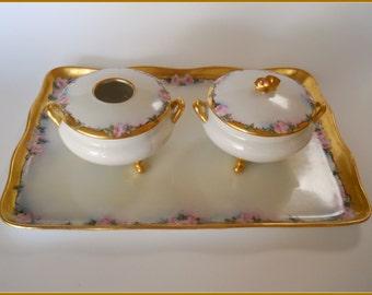 Antique Porcelain Victorian Dresser Set Hand Painted Pink Roses - June SALE