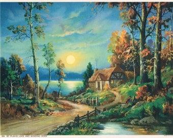 By Placid Lake and Winding Road Calendar Art Print