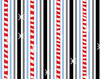 Frosty The Snowman Winter Christmas Fun Stripe Cotton Fabric By The Half Yard