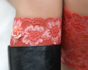 Lace Boot Cuffs, Faux Leg Warmers, or Boot Toppers for Women and Teens in Coral. Ready to ship.