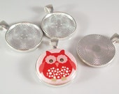 """10 23mm Round Pendant Tray 1"""" Inch Silver Plated Blank Bezel for use with 1"""" BUTTONS"""