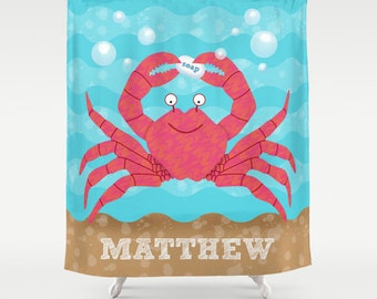 Kids Personalized Under the Sea Shower Curtain, Children's Sea Theme Bathroom, Personalized Kids Bathroom Decor, Crab Sea Ocean Bathroom