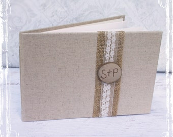 Wedding Guest Book - Rustic Wedding Guest Book - Burlap Lace Personalized Keepsake - Unique Custom Guest Book - Spring Summer Fall Winter
