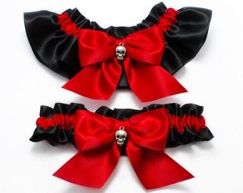 Wedding garters - bridal garters - red and black garters with skulls - red skull garters- red garters - red satin garters - gothic garters