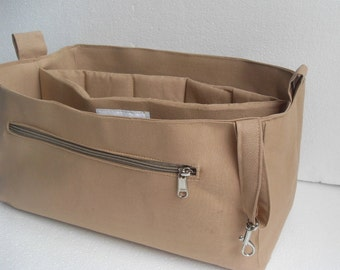Purse organizer with Laptop Case fits LV Neverfull MM- Bag organizer insert in Sand fabric