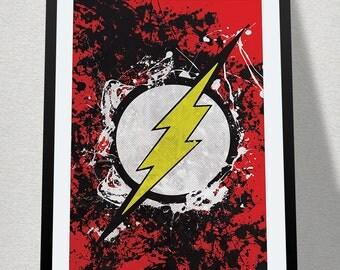 The Flash Splatter Poster Print Superhero Kids Wall Art Decor Nursery Batman Comic Book Superheroes Super Hero