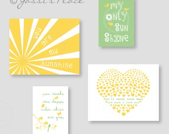Nursery decor, Yellow and Green kids wall art, You Are My Sunshine Print Set 8x10 and 5x7- Eclectic style Gallery wall Art  021 022