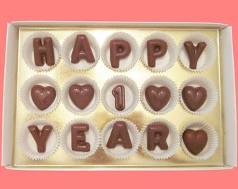 Happy 1 Year Large Milk Chocolate Letters First 1st Fun Anniversary Gift for Boyfriend BF Girlfriend GF Her Him Man Woman Couple