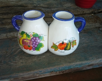 Vintage Cream Olive Oil Syrup Matching Pitchers Eggplant Grapes Vintage Shop Home Accent Pumpkin Fall