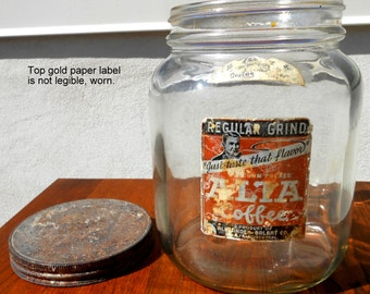 Coffee Glass Container, 1940's, With Labels, San Francisco, Great Shape!
