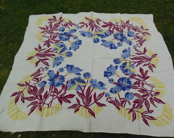 Gorgeous Blue and Lavender Floral Tablecloth