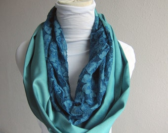 Jade Green Loop Scarf with Teal Lace... Cotton Circle Scarf..Lace Scarf Cotton Satin Scarves