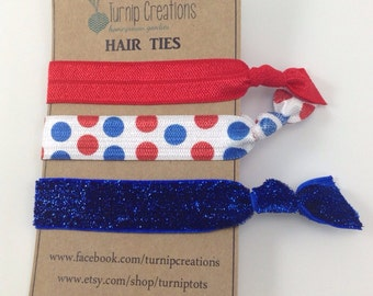Hair Ties Red White & Blue FOE Polka Dot Glitter 4th of July pony holder hair ties Party Favor Bridesmaid