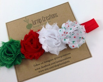 Christmas Headband Polka Dot Headband Red Green Shabby Flower Headband Holidays Photo Prop