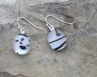 Black and Silver Earrings Fused Dichroic Glass Black and White Earrings