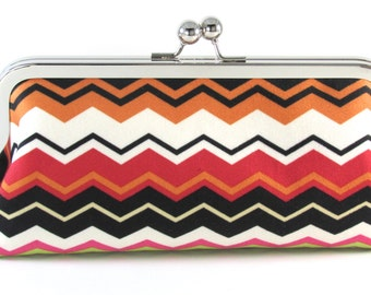 Chevron Clutch Purse - White Black Tangerine Red -  Multi-Colored Women's Handmade Modern Handbag - Bagboy