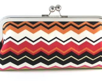 Chevron Clutch Purse - White Black Tangerine Red -  Multi-Colored Women's Handmade Modern Handbag - Bagboy