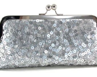 Silver Sequin Clutch Purse -  Sparkle Evening Bag - Woman's Handmade Handbag - Bagboy