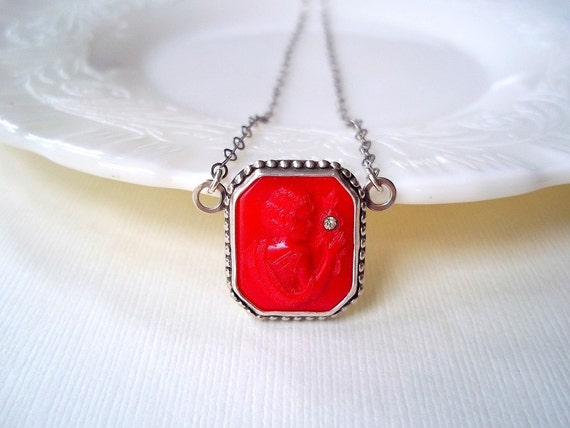 Ready to Ship Jewelry. Cameo Necklace. Sterling Silver with Red Glass Necklace. Art Deco Jewelry