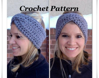 CROCHET PATTERN: Crossover Headband, Crochet Winter Headband Pattern, Headwrap Pattern, Women Headband Pattern, Earwarmer Pattern