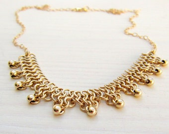 Gold bridal necklace. Gold wedding necklace. Gold lace necklace. Chainmaille jewelry. Bridal gift.