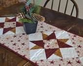 Christmas Quilted Table Runner, Red and Gold Stars