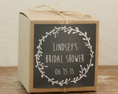 8 - Bridal Shower Favor Boxes / Cupcake Boxes - Laurel Chalkboard Label - personalized cupcake box, personalized favor box