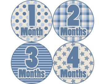 Baby Announcement, Monthly Baby Stickers, Monthly Baby Photos, Baby Gift, Baby Month Stickers, Monthly Stickers, Blue (B048)