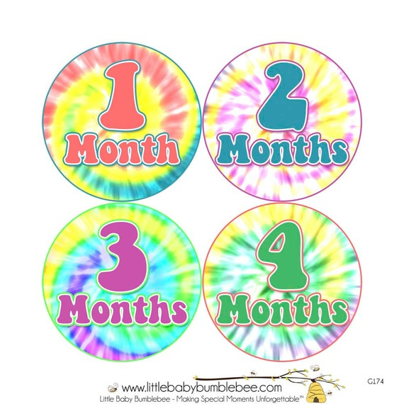 Baby Announcement, Monthly Baby Stickers, Monthly Baby Photos, Baby Gift, Baby Month Stickers, Monthly Stickers, Tie Dye (G174)