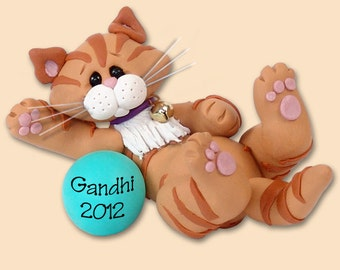 Orange Tabby  KITTY CAT HANDMADE Polymer Clay Personalized Christmas Ornament