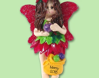 Merry the Forest FAIRY Hand Pinted RESIN Personalized Christmas Ornament
