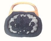 Bermuda Style Floral Purse Black and White Interchangeable Sleeves
