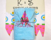 Aqua Personalized Hooded Towel With Bright Colored Gumball Dots on Hot Pink Ribbon/Shower Gift/Perfect Gift For Your Favorite Girly Girl