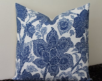 "Vervain Aida Print in Navy and Ivory - 20"" x 20""  Decorative Designer Pillow Cover"