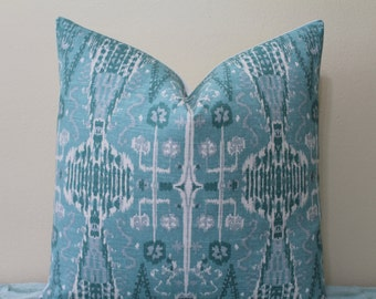 "SALE - SET Of TWO - 20"" x 20"" - Bombay Ikat Print in Mist/Shades of Turquoise and Teal - Decorative Designer Pillow Covers"