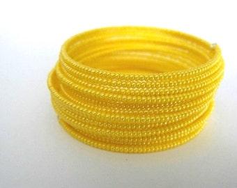 Yellow Glass Seads Memory  Wire Beadwork  Bracelet