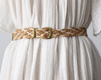vintage woven skinny belt