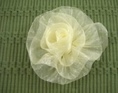 Organza Rose in Ivory - Handmade Ribbon Flower - Brooch, Pin, Hair Clip, Shoe Clips - Pick Your Color