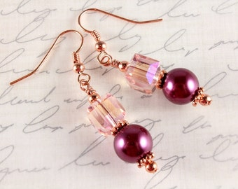 Pink Pearl and Crystal Earrings, Bordeaux, Burgundy, Copper, Bridal, Wedding, Bridesmaid