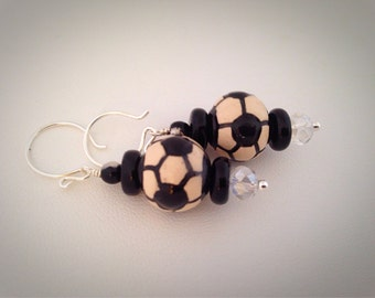 Soccer Ball Dangle Earrings black and white - Sterling Silver earwires - sports balls - crystal - tweens - teens girls kids child children's