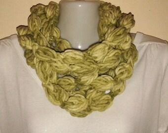 Wool crocheted Infinity Bubble Scarf Neck Warmer