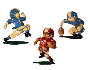 Vintage 1976 Football Players Homco Three Wall Plaques Baby BOY Football Sports Nursery Room Decor