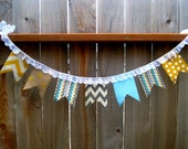 Mustard Yellow Teal and Grey Banner SO cute! Home decor Children Wedding Gift Baby shower