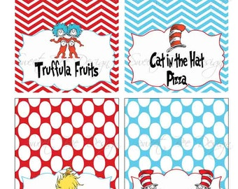 Dr Seuss Thing 1 & Thing 2 Birthday party or Baby Shower  Food Tents