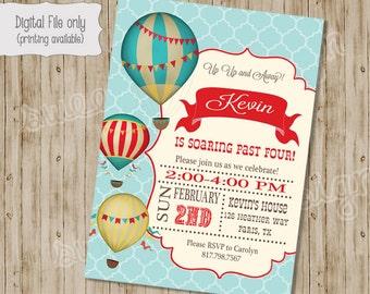 Hot Air Balloon Birthday Invitation - Vintage Hot Air Balloon, Hot Air Balloon Shower - Custom Printable BOY OR GIRL