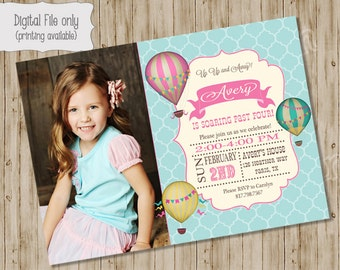Hot Air Balloon Birthday Photo Invitation - Vintage Hot Air Balloon, Hot Air Balloon Shower - Custom Printable BOY OR GIRL