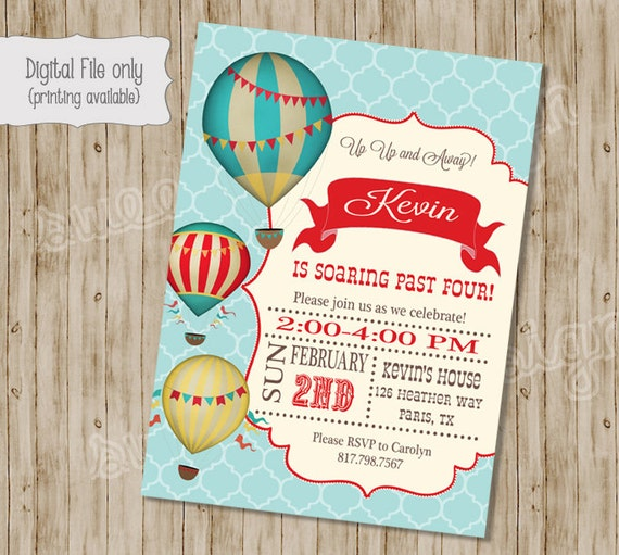 Hot Air Balloon Birthday Invitation Vintage Hot Air Balloon