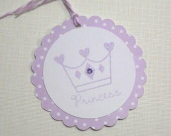 Set of 10 Lavender and White Polka Dot Little Princess Baby Shower Tags- Princess Crown - Gift Tags - Princess Birthday Favor Tags